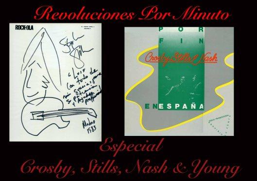 Dibujo y dedicatoria de Stephen Stills y disco conmemorativo de la gira que nunca se llegó a realizar.
